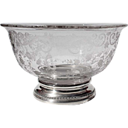 Vintage Etched Glass Bowl With Sterling Silver Base By The Sheffield Silver Company, Circa 1940