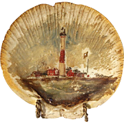 19th Century Scallop Shell With Montauk Point Lighthouse Painting, Circa 1890