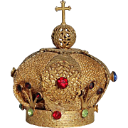Antique Jeweled Gold Metal Santos Crown, Circa 1900