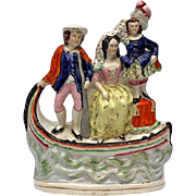 19th Century Staffordshire Pottery Group Of Three Figures In A Venetian Gondola, Circa 1860