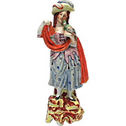 19th Century Staffordshire Pottery Figure Of A Woman With A Parrot, Circa 1850