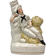19th Century Staffordshire Pottery Figural Spill Vase, Circa 1850