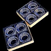 Vintage Set Of 8 Gorham Crystal Napkin Rings In The Original Box