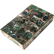 Vintage Mid-Century Taxco Mexican Abalone Keepsake Box After Salvador Teran, Circa 1960