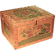 Large Antique Japanese Papered Wood Tea Box With Tin Lining, Circa 1900