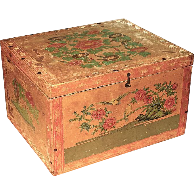 Large Antique Japanese Papered Wood Tea Box With Tin
