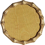 Vintage Gilt Metal Faux Bamboo Round Picture Frame With Satin Easel