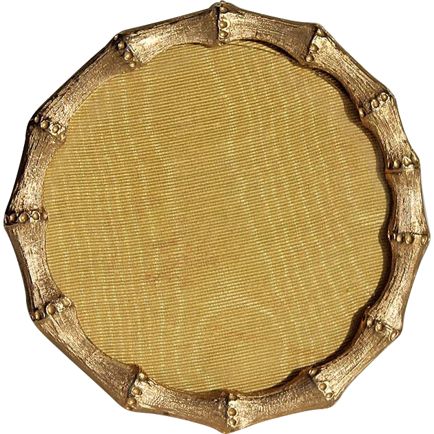 Vintage Gilt Metal Faux Bamboo Round Picture Frame With Satin Easel ...
