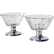Vintage Mid-Century Pair Of Crystal And 835 Silver Pedistal Bowls, Circa 1950
