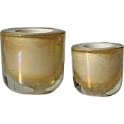 Vintage Set Of Two Italian Murano Glass Votive Candle Holders