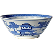 Large Vintage Chinese Blue And White Canton Porcelain Bowl