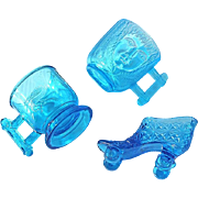 19th Century Group Of 3 Bryce Pressed Glass Childs Cups And Shoe Roller Skate, Circa 1885