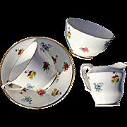 Vintage Royal Victoria Fine Bone China Tea Cup, Creamer And Sugar Bowl
