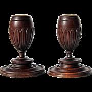 Antique Pair Of Mahogany Wooden Candlesticks, Circa 1910