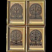 Set Of Original Silhouettes Of The Four Seasons Signed By U. Hofer, Circa 1982