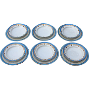 Set Of Six Limoges Berry/Desert Bowls With Liner Plates By Bernardaud & Co., Circa 1900
