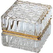 Vintage Crystal Jewel Casket With Gilt Metal Mounts