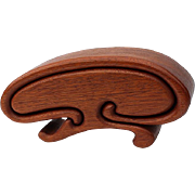 Sculptural Carved Teak Wood Puzzle Box by Richard Rothbard