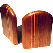 Vintage Pair Of Inlaid Wood Bookends