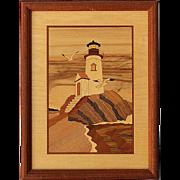 Vintage Framed Signed Hudson River Inlaid Wood Picture Of Lighthouse Rock