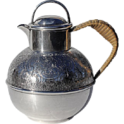 Vintage English Silver Plated Tea Pot With Woven Wicker Handle