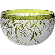 Vintage Frosted And Acid Etched Glass Bowl With Green Vine