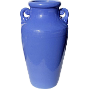 Large Vintage Blue Handled Pottery Floor Vase, Circa 1950