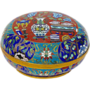 Large Antique Chinese Cloisonne Round Box, Circa 1890
