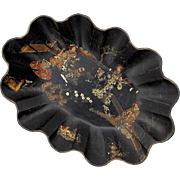 Large 19th Century Chinoiserie Decorated Black Lacquer Bowl