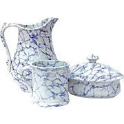 Antique Marbled Ironstone Pitcher, Mug And Covered Soap Dish, Circa 1850