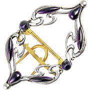 Antique Art Nouveau Amethyst Paste Piel Freres Buckle