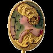 Edwardian Enamel Gibson Girl Stickpin