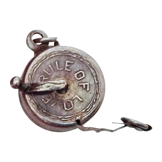 Rule of Love Silver Mechanical Measuring Tape Charm