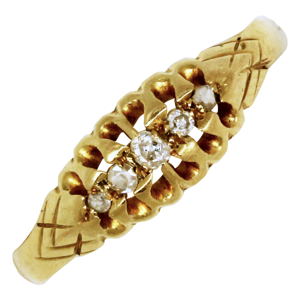 Edwardian Gold Diamond Boat Ring Hallmarked 1915