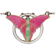 Art Deco Butterfly Champleve Enamel Sterling Silver Necklace