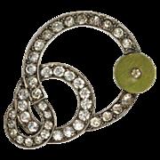 Art Deco Green Bead Paste Brooch