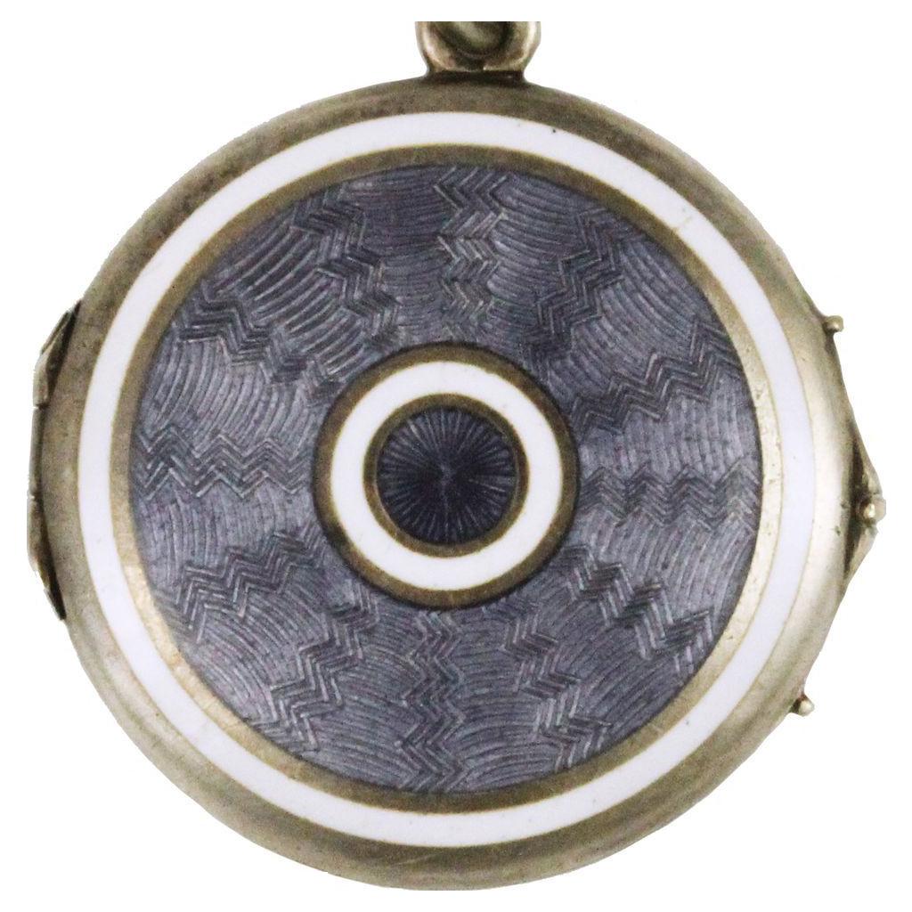 Blue Grey Guilloche Enamel Silver Locket