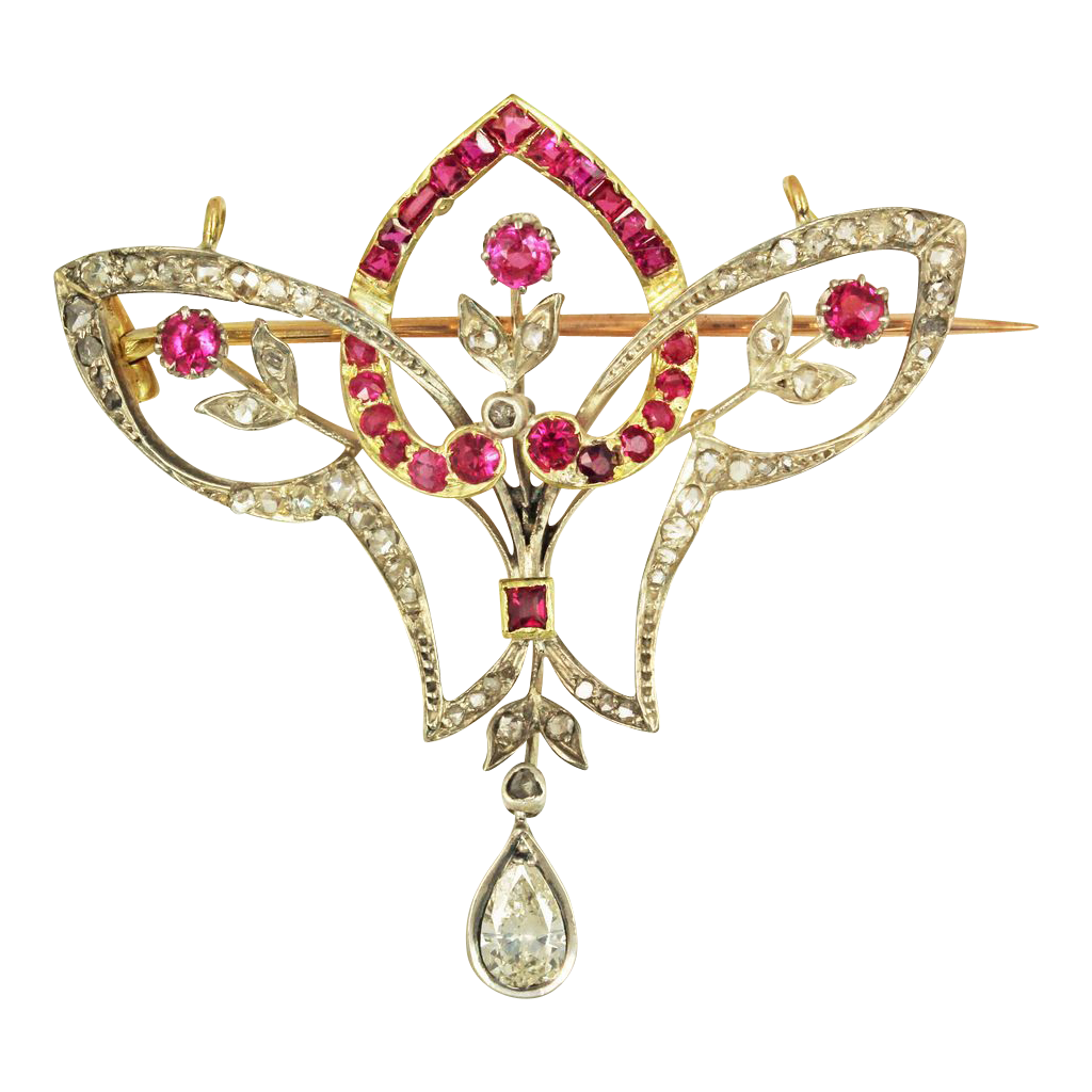 Edwardian Ruby and Diamond Pendant 18kt Gold and Platinum Brooch With Appraisal