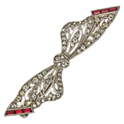 Art Deco Ruby and Clear Paste Brooch