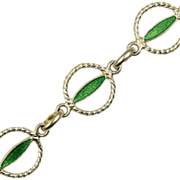 Vintage Green Enamel Sterling Silver Bracelet