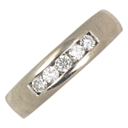 Men's Diamond 14kt White Gold Wedding Ring