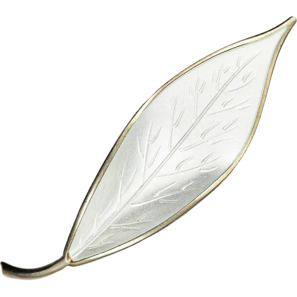 David Andersen Large White Leaf Sterling Silver Brooch
