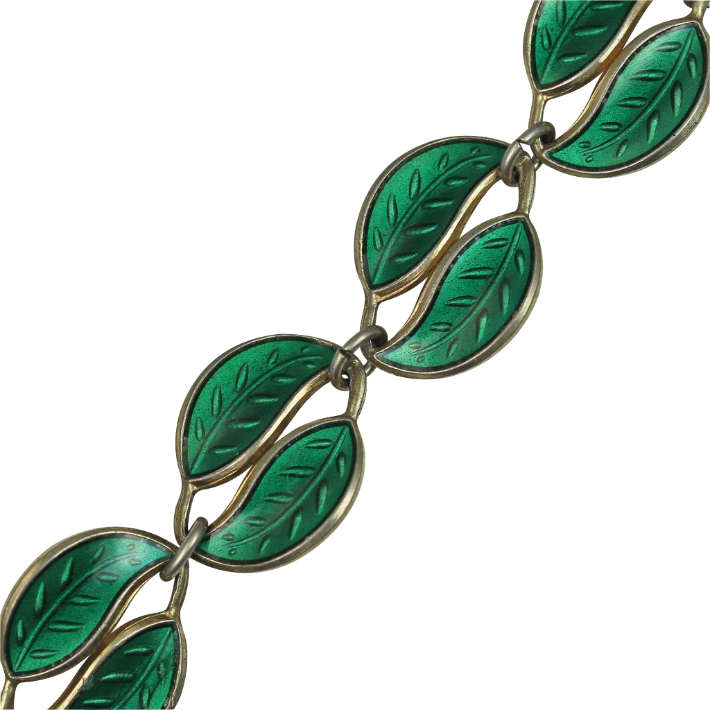 David Andersen Green Enamel Double Leaf Bracelet