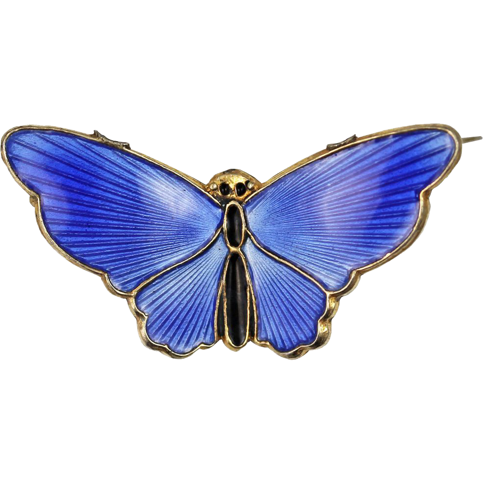 David Andersen Blue Butterfly Sterling Silver Brooch
