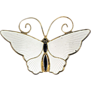 David Andersen White Enamel Butterfly Brooch