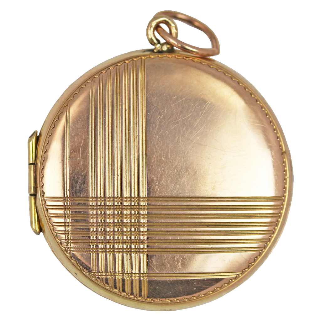 art deco 9kt rose gold geometric locket from redswallow on ruby lane. Black Bedroom Furniture Sets. Home Design Ideas