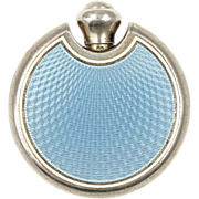 Art Deco Blue Guilloche Enamel Perfume Flask or Flacon - Red Tag Sale Item