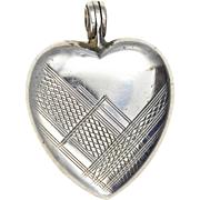 Art Deco Sterling Silver Heart Locket Delicate Geometric Pattern