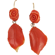 Vintage Coral Dangle 14kt Gold Earrings