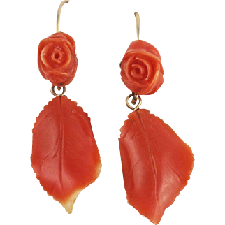 Vintage Coral Dangle 14kt Gold Earrings